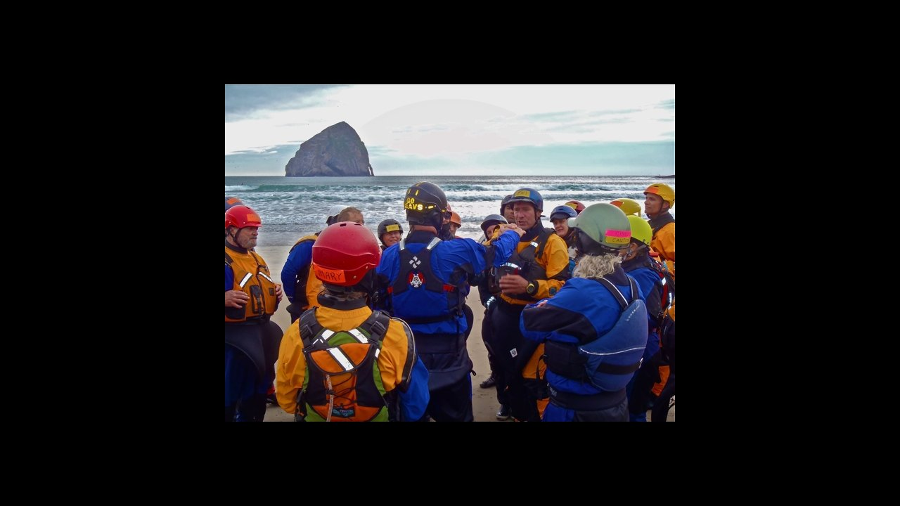 Karl Andersson teaches about shoulder safety in the surf zone