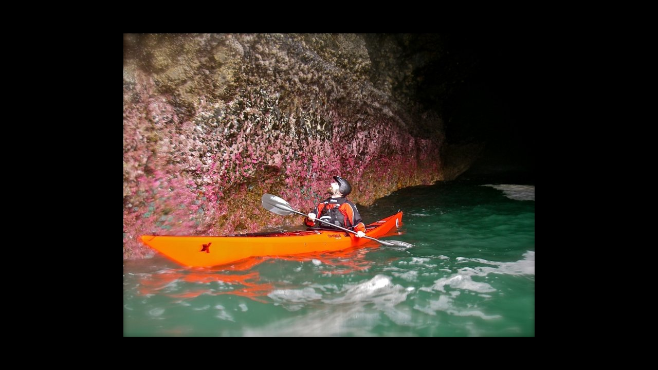 Paul Kuthe exploring the caves at 3 Arch Rocks.