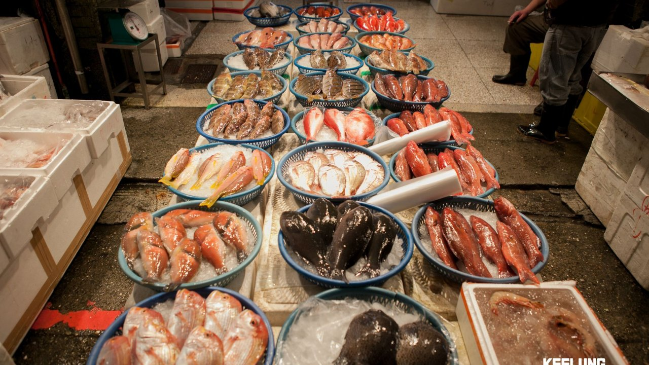 All manner of freshly-caught seafood at the Midnight Fish Market!